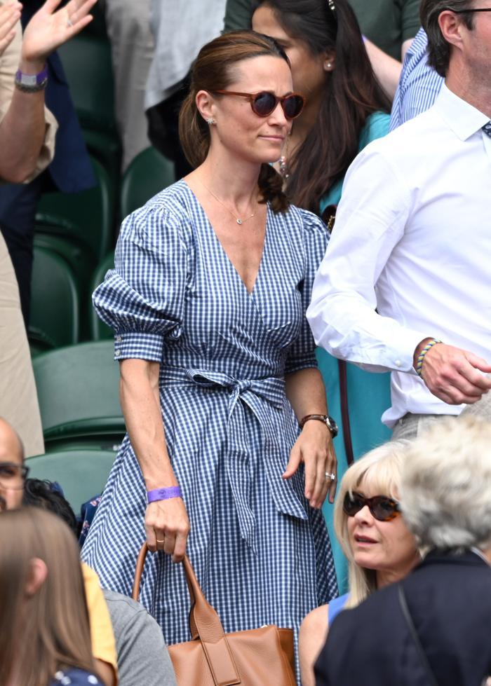 Pippa Middleton at Wimbledon wearing a gingham dress by Ralph Lauren