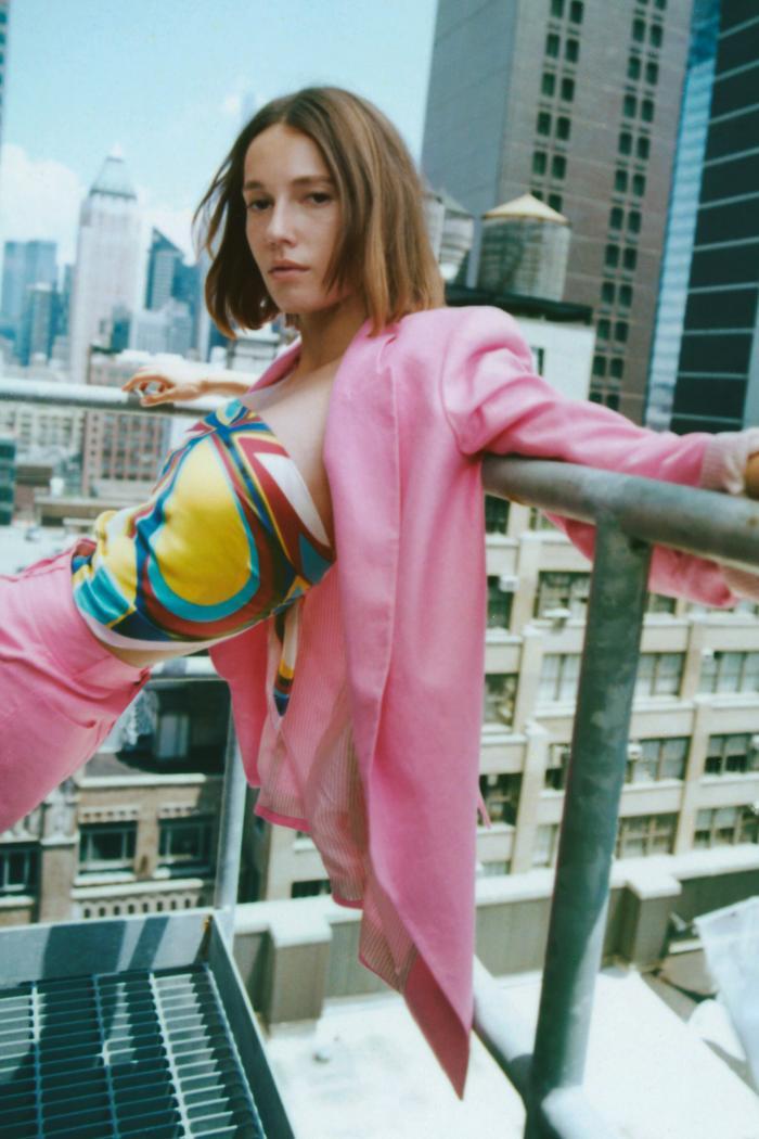 Zara Linen Blend Printed Cuff Blazer