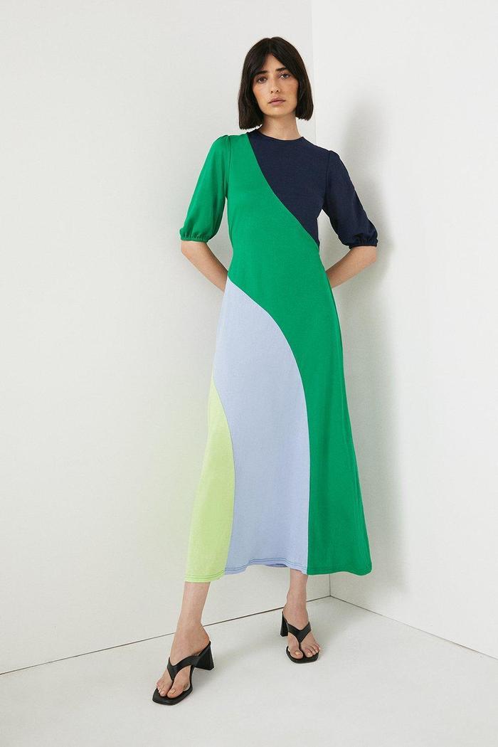 Warehouse Pique Colourblock Tie Back Midi Dress