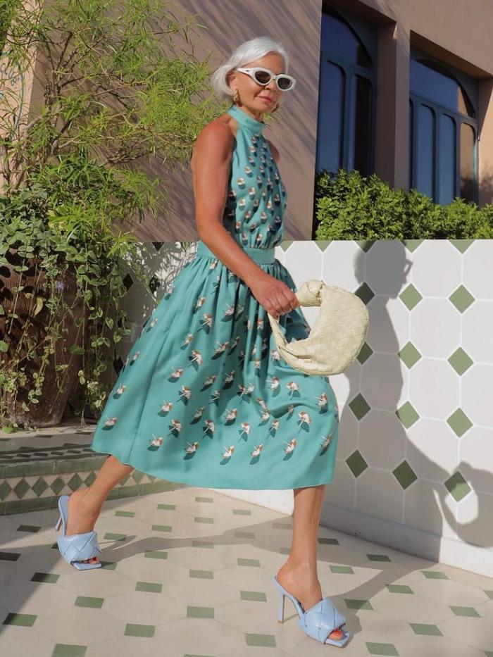 best designer sandals: Grece Ghanem wearing Bottega Veneta sandals