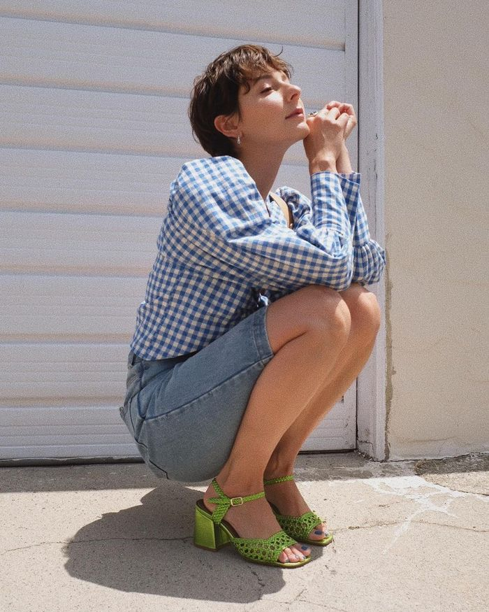 long denim shorts: worn with a check top and heels
