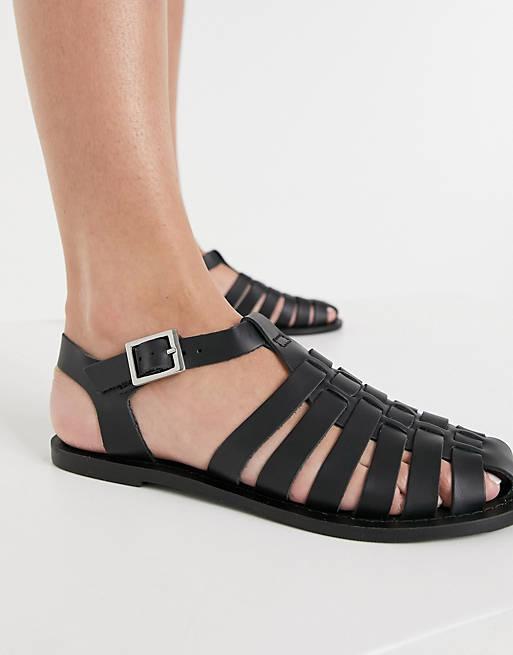 ASOS Design Leather Fisherman Flat Shoes in Black