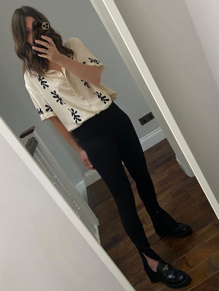 summer leggings outfits: claire wakeman in matteu shirt black leggings and prada loafers