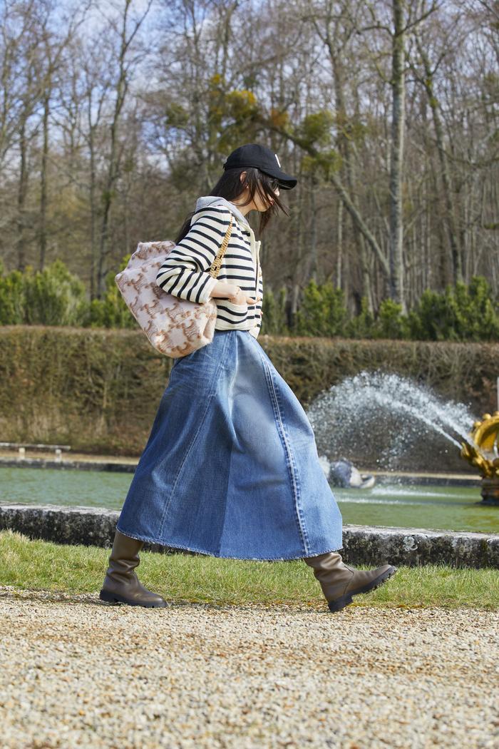 Autumn Denim Trends 2021: A denim maxi skirt at Celine