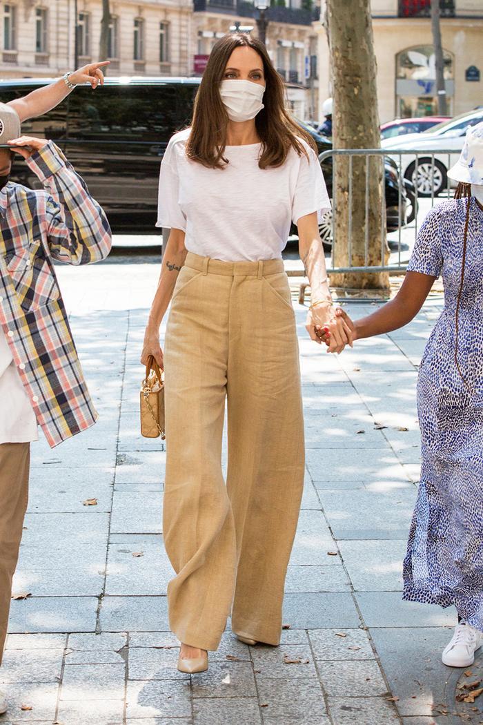 Angelina Jolie wide-leg pants