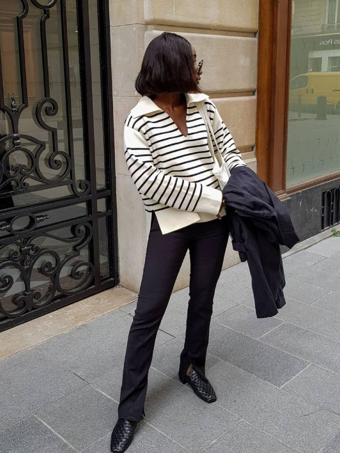 arket breton jumper: aida of basics touch wearing the arket jumper