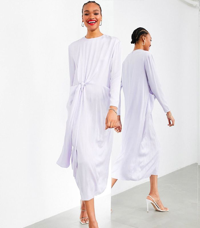 ASOS Edition Drape Front Crinkle Satin Midi Dress in Washed Lilac