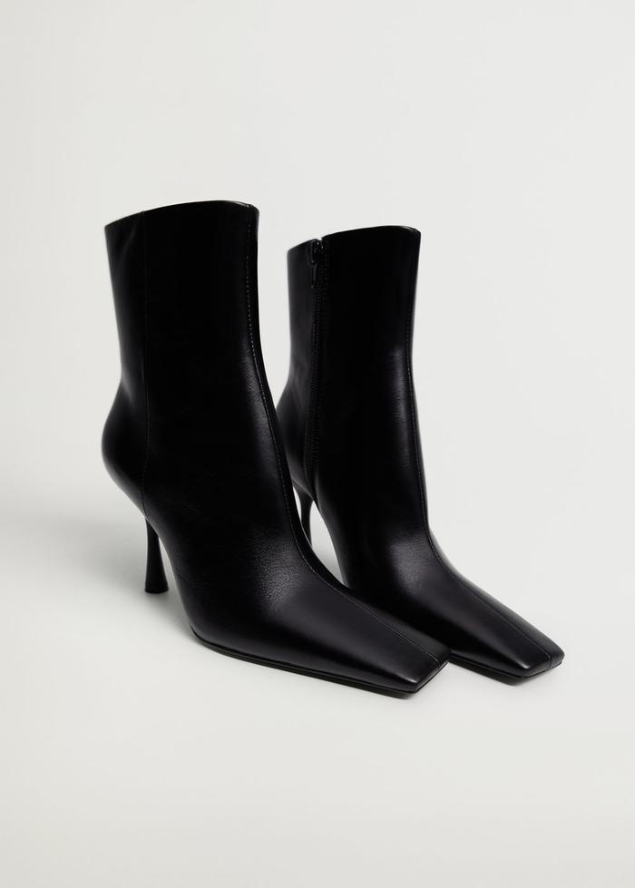 Mango Heel Leather Ankle Boot