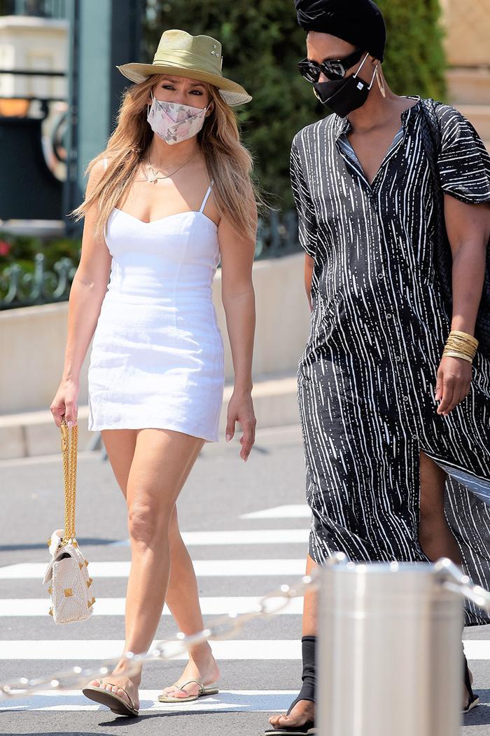 Jennifer Lopez white Reformation dress