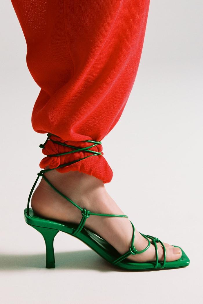 Zara Tie Strap Heeled Sandals