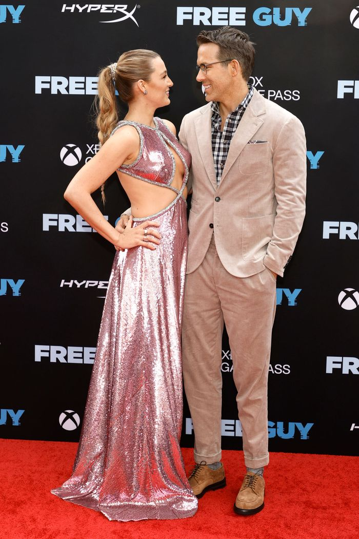 free guy premiere red carpet photos of ryan reynolds and blake lively wearing a pink dress