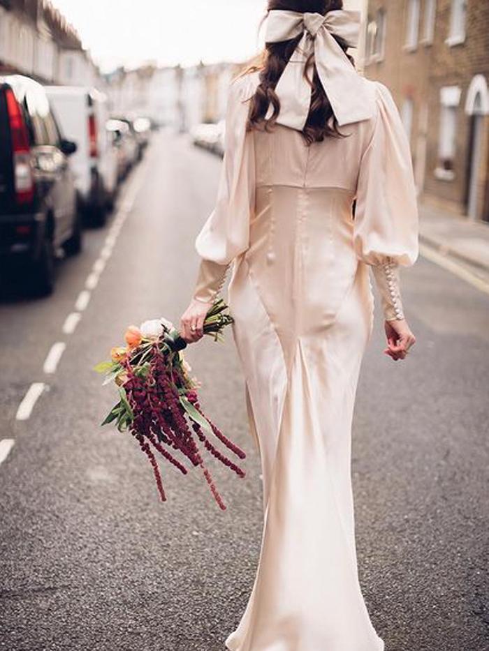 Autumn Wedding Dresses: @florriet in a satin gown on her wedding day