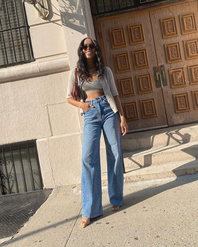 Zara, Mango and H&M Autumn 2021: Janelle Marie Lloyd wears a pair of H&M jeans
