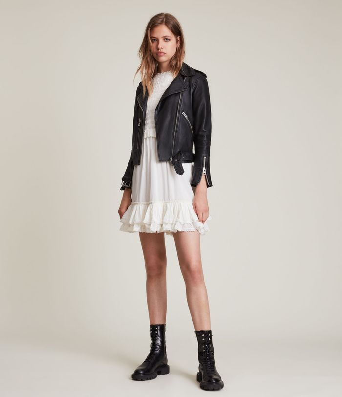 AllSaints leather jackets and dresses make for the ultimate autumn outfit