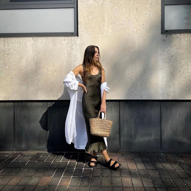 Ghost Palm Dress: @aimeejohnson wears her Ghost Palm dress with a linen shirt and a basket bag