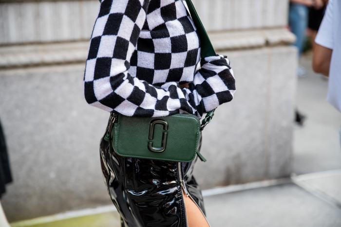 green designer camera bag