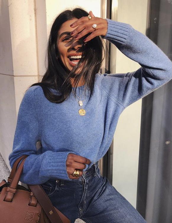 Marks & Spencer Jumpers: @monikh wears a blue jumper from Marks & Spencer