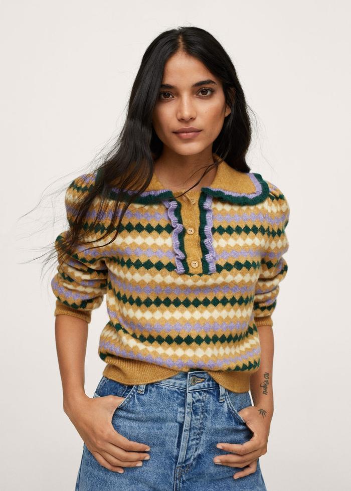 Mango Printed Knit Sweater