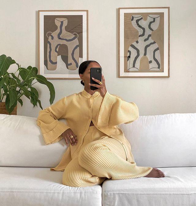 Knitted Loungewear: @femmeblk wears a yellow knitted loungewear set