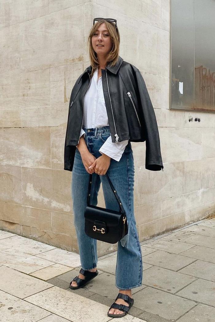 H&M boxy leather jacket