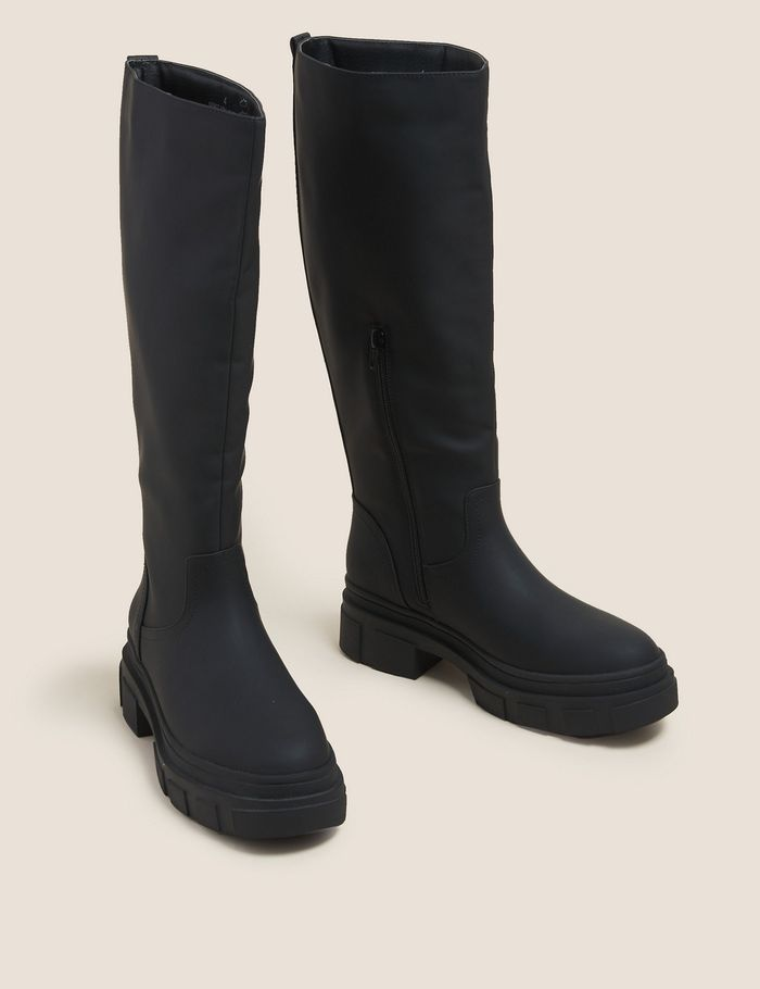 Marks and Spencer Chunky Cleated Knee High Boots in Black