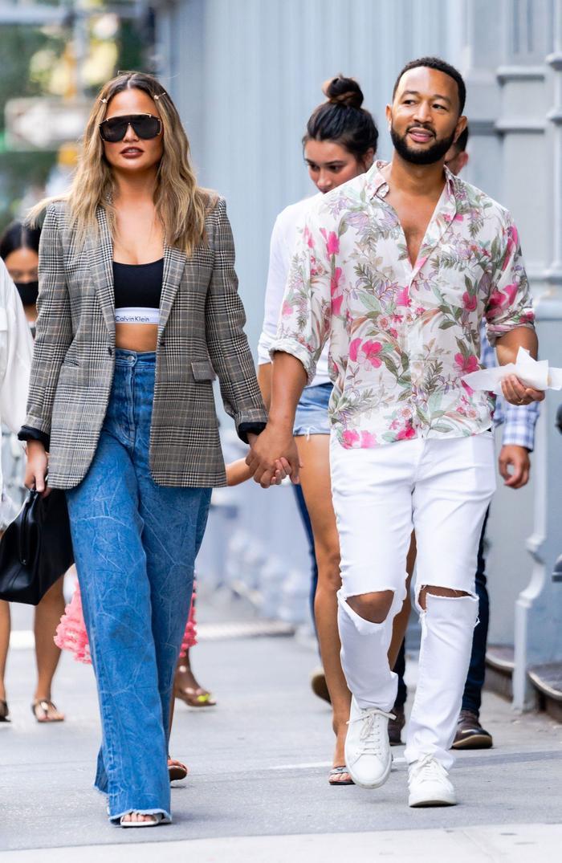 Chrissy Teigen wore a Calvin Klein bra as a shirt