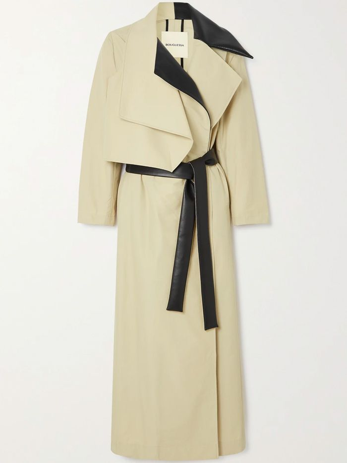 Bouguessa Shada Faux Leather-Trimmed Cotton-Blend Trench Coat