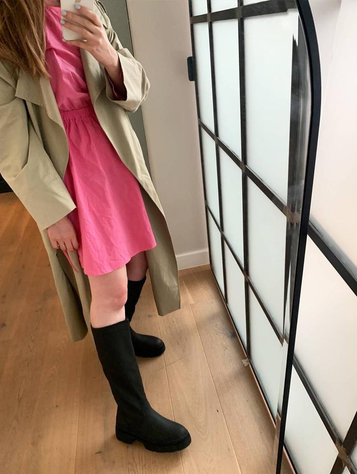 Knee high chunky boots