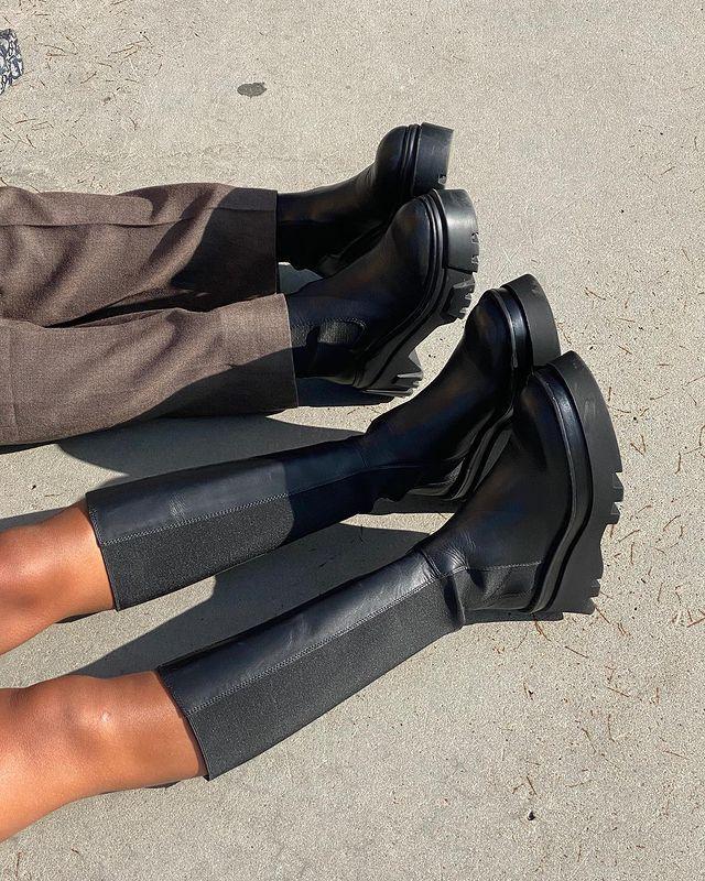 High Street Chunky Knee-High Boots: @amaka.hamelijnck
