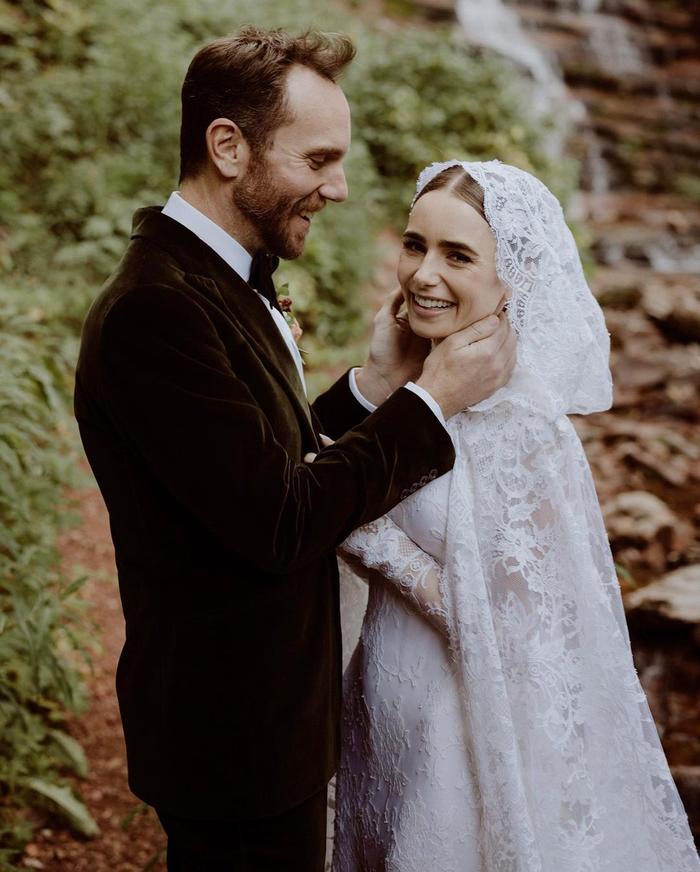 lily collins wedding dress photos