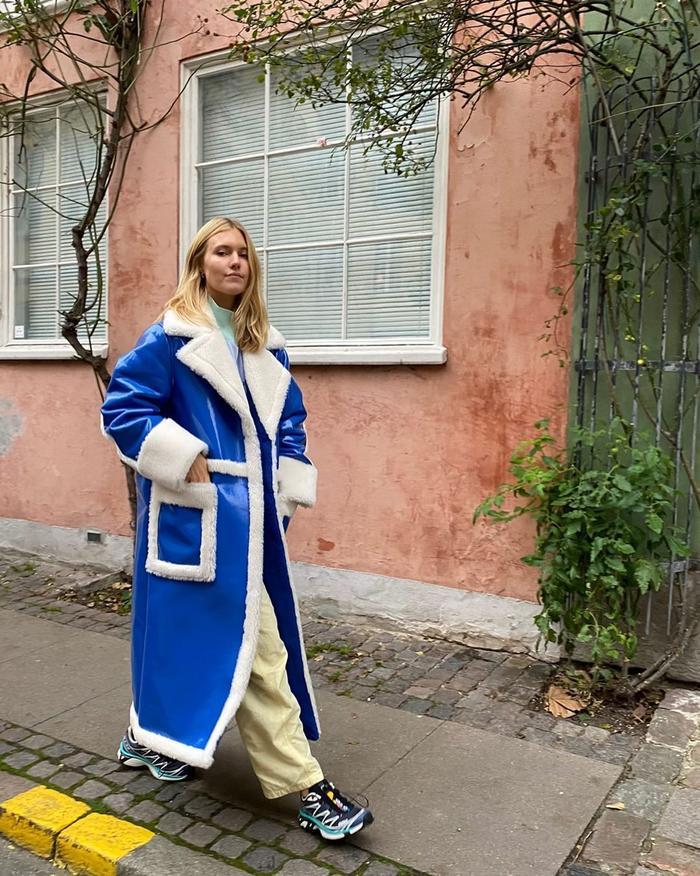 blue shearling coats
