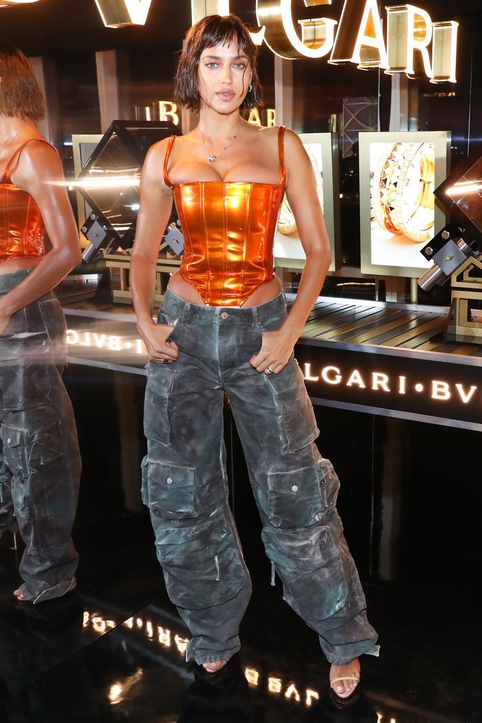 Bulgari NYFW party - Irina Shayk wore cargo pants