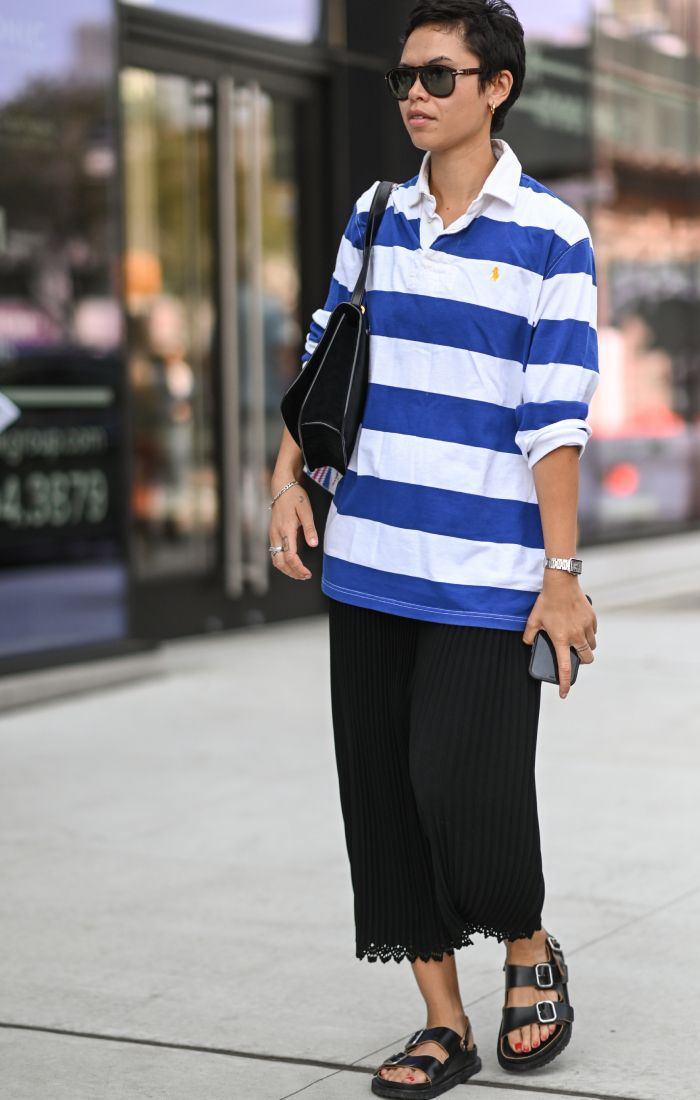 rugby shirts for women: street styler wearing a rugby shirt at new york fashion week