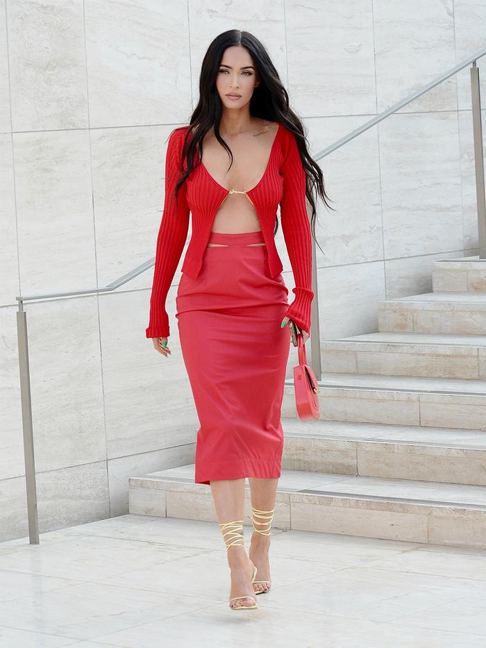 Megan Fox red cardigan