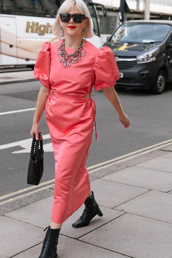 London Fashion Week street style high street pieces: Warehouse dress