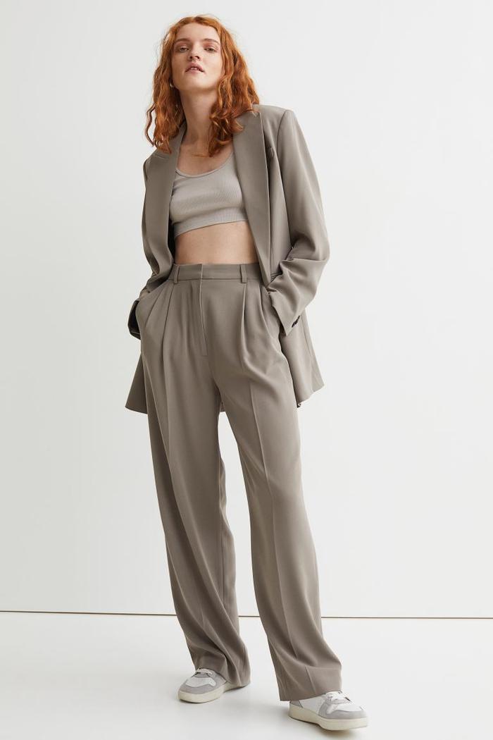 H&M Wide Crease-Leg Trousers
