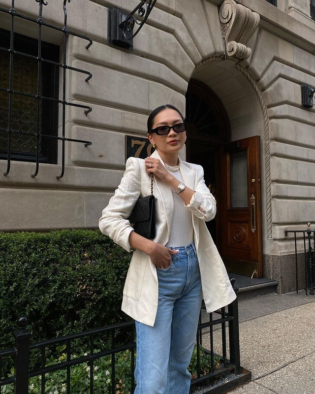 Bodysuit and Jeans Outfits: @dawn.tan wears a white bodysuit, blazer, and jeans
