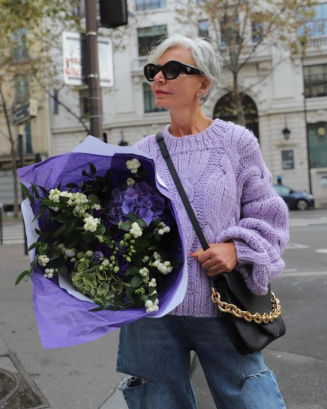 Best Chunky Knit Jumpers: @greceghanem wears a lilac chunky knit jumper