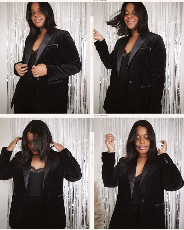 Types of Wedding Guest Outfits: @styleidealist wears a velvet dinner jacket and silk camisole