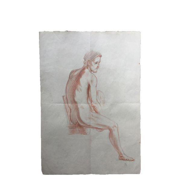 Chairish Vintage Original Male Nude Drawing