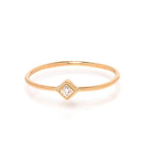 14k Yellow Gold Tiny Diamond Ring