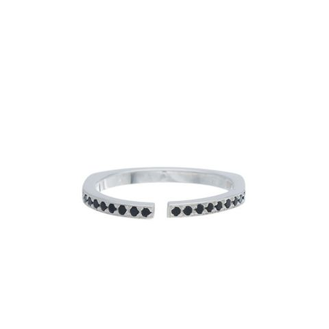 Sterling Silver and Black Diamond Pavé Split Ring