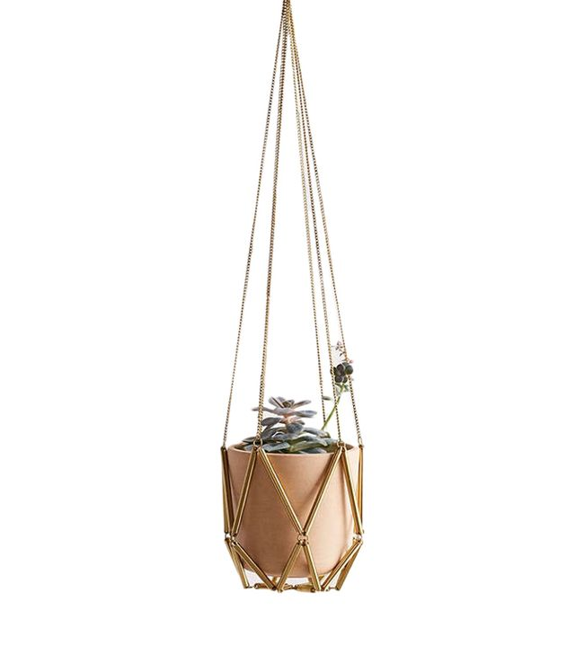 Ella Metal Macrame Hanging Planter - Gold One Size at Urban Outfitters