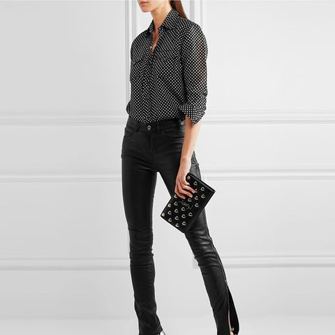 Polka-Dot Cotton and Silk-Blend Shirt