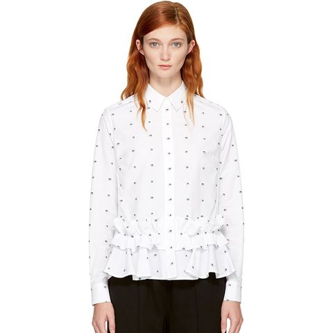 White Ruffled Swallows Shirt