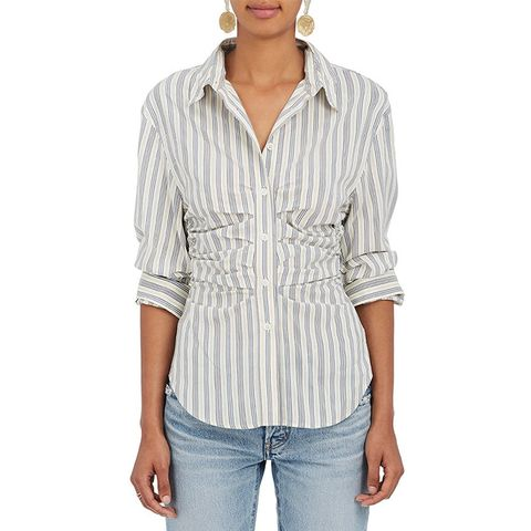 Ruched Striped Silk-Blend Blouse