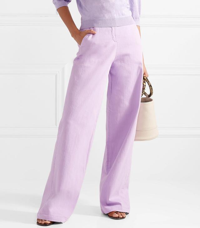 Cotton-blend Wide-leg Pants