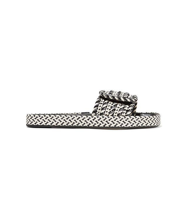 Isabel Marant Étoile Enki Woven and Leather Slides