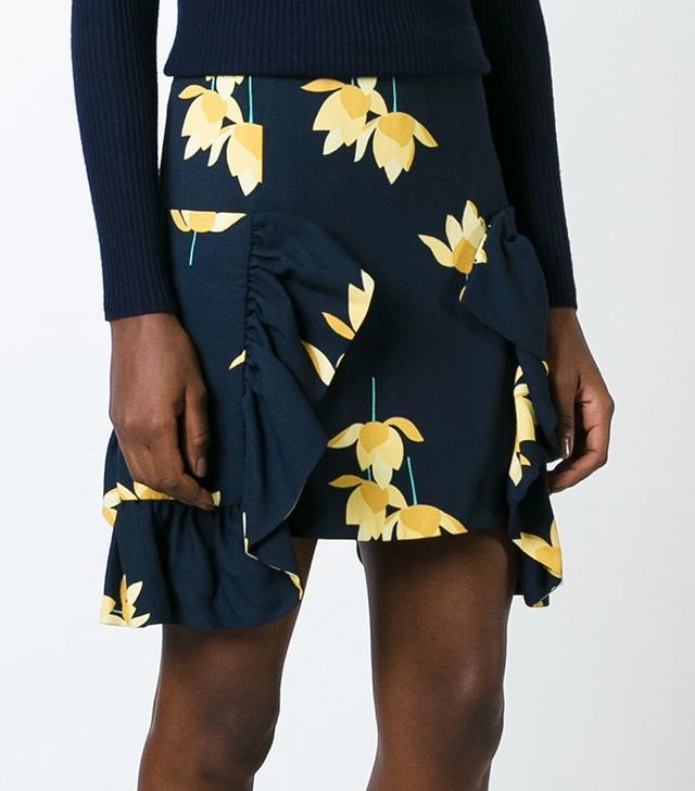 Marni Ruffled Hem Floral Skirt
