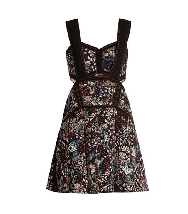 Self-Portrait Floral-Jacquard Mini Dress